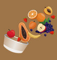 bowl fruit nutrition meal vector image