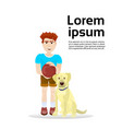 boy with labrador dog isolated on white background vector image vector image