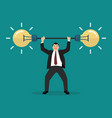 businessman lifting exercise with barbell idea vector image vector image