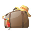 cartoon suitcase for rest travel bag drawing vector image