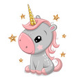 cartoon unicorn with gold horn isolated vector image vector image