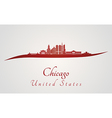 Chicago skyline in red vector image vector image
