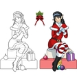 Christmas elf Asian girl with mistletoe lineart vector image vector image