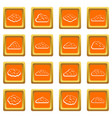 clouds icons set orange vector image