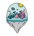 color fishes and exotic seaweed in the float vector image vector image
