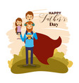 colorful card with dad super hero and sons on the vector image