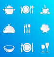Cooking and kitchen restaurant menu icons vector image vector image