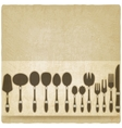 cutlery tableware set old background vector image vector image