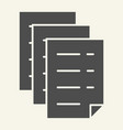 documents solid icon files vector image vector image