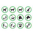 dog friendly sign set pets allowed icons vector image vector image