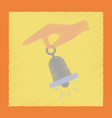 flat shading style icon hand bell vector image