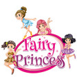 font design for word fairy princess with many vector image vector image