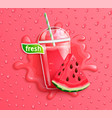 fresh watermelon juice with slice berry vector image vector image