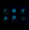 futuristic holograms with graphic fingerprints vector image