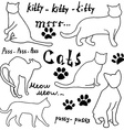 hand drawn sketch cats silhouette and traces vector image