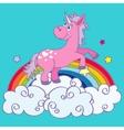 hand drawn unicorn on rainbow vector image