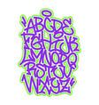 handwritten graffiti font alphabet vector image