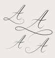 handwritten swirl monogram a logo design vector image