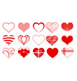 heart drawings valentine icon set03 vector image