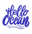 hello ocean lettering phrase isolated on white vector image
