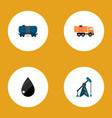 icon flat petrol set of truck tanker liquid drop vector image