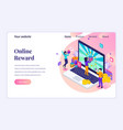 isometric landing page design concept online vector image vector image