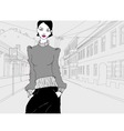 lady in town grey vector image vector image