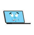 laptop does not know confused emoji face avatar vector image