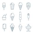 line art icecream icons vector image