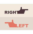 logo hand Shows direction of right hand left hand vector image vector image