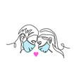 love with mask in love couple s kiss vector image