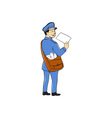 Mailman Deliver Letter Isolated Cartoon vector image