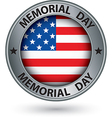 Memorial day silver label with USA flag vector image