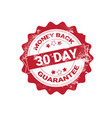 money back guarantee badge red grunge sticker or vector image vector image