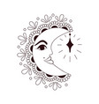 moon mehndi crescent with decorative indian vector image
