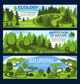 nature protection banner for ecology conservation vector image vector image