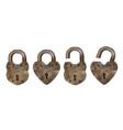 old metal padlocks in heart shape vector image