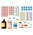 pharmaceutical tablet pill and liquid icon set vector image