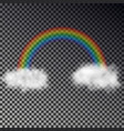 rainbow arch with white clouds isolated on checker vector image vector image