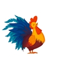 Rooster crowing isolated on white vector image