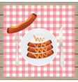 Sausages on a plate vector image