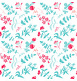 seamless pattern with herbal tea plants vector image