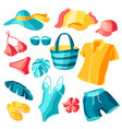set beachwear and swimwear summer clothes and vector image