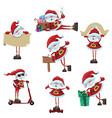 set cartoon santa clauses collection cute vector image vector image