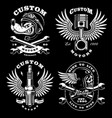 set of 4 vintage biker on dark background 2 vector image vector image