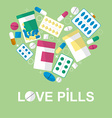 Set of pills in the form heart for your vector image