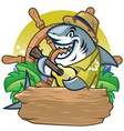 shark cartoon mascot playing guitar design vector image vector image