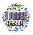 summer beach and set of summer colored icons in vector image