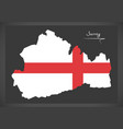 surrey map england uk with english national flag vector image vector image