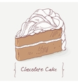 Sweet chocolate cake doodle isolated in vector image vector image